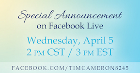 Tim Cameron cover reveal graphic for Facebook